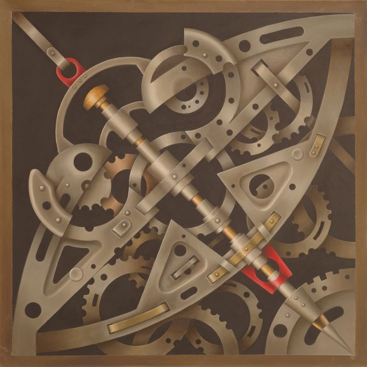 Mechanism of Thought Circular Acrylic and oil on canvas  cm 80 x 80