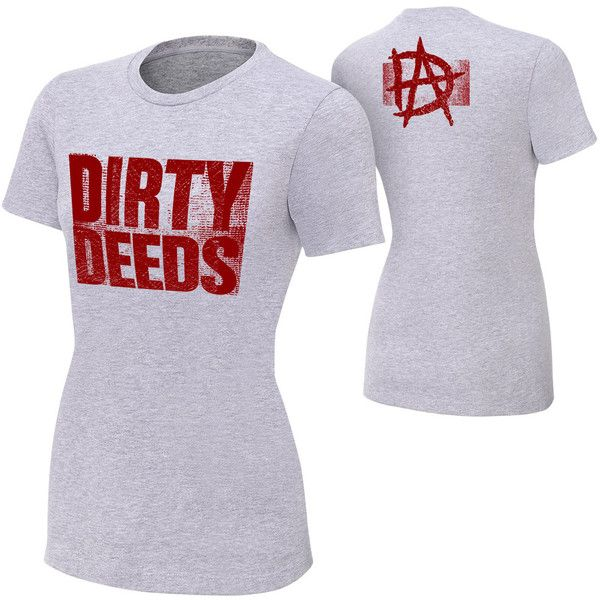 "Dean Ambrose ""Dirty Deeds"" Women's Authentic T-Shirt ❤ liked on Polyvore featuring tops, t-shirts, wwe, classic fit t shirts, cotton tee, shirts & tops, t shirts and cotton shirts"