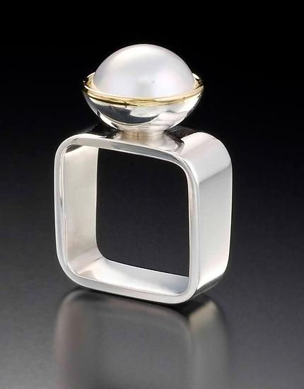 Square Ring: White Mabe by Gabriel Ofiesh: Gold, Silver, and Pearl Ring available at www.artfulhome.com