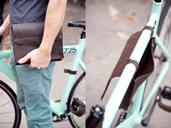 Leather Bike Frame Bag  Dark Chocolate Brown by jrawldesign