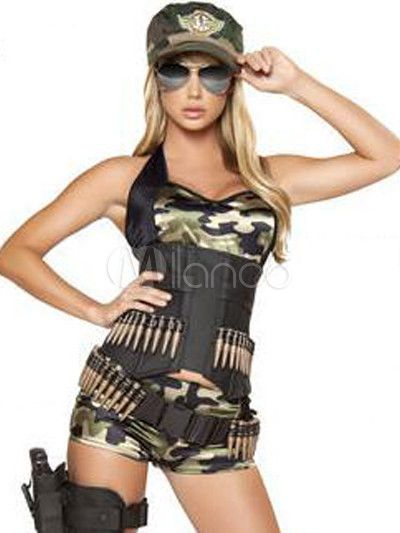 Awesome Split Color Denim Camouflage Womenu0027s Cop Bedroom Costume   Milanoo.com LOL  SEXYB AND LOADED Design Inspirations