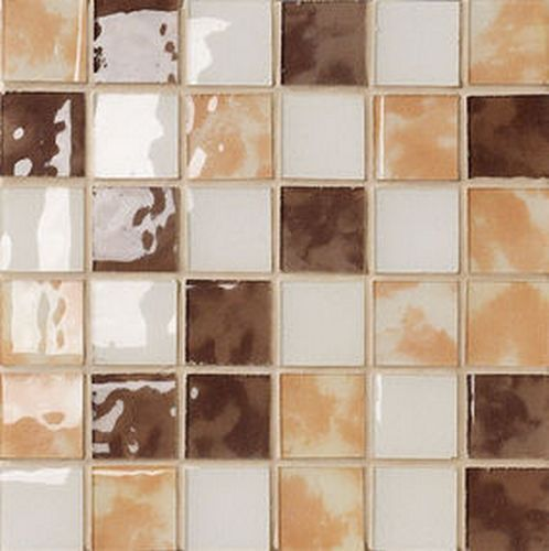 "#Settecento #Musiva Mix "" B "" Giallo-mogano-avorio 4,5x4,5 on grid 28,6x28,6 cm 100102   #Glas on ceramic   on #bathroom39.com at 156 Euro/sqm   #mosaic #bathroom #kitchen"