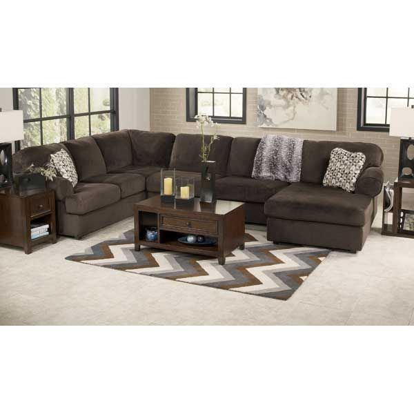 inviting 3pc chocolate sectional wraf chaise by ashley furniture softcolored fabric