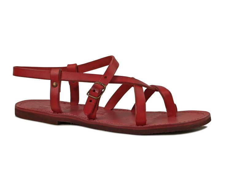 Womens red flat gladiator sandals Handmade in Italy - Italian Boutique €65