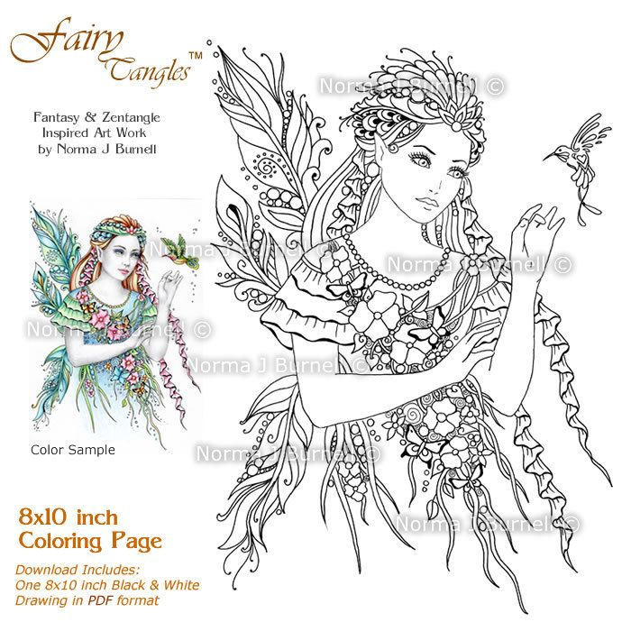 The Messenger Fairy Tangles Printable Coloring Book Pages Adult Sheets By Norma J Burnell Fairies To Color Hummingbird