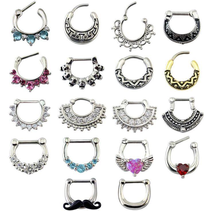 Mustache Septum Piercing Jewelry Nose Ring16g Surgical Steel Septum Clicker Jewelry Septo Ring Cute Clip On Body Jewelry
