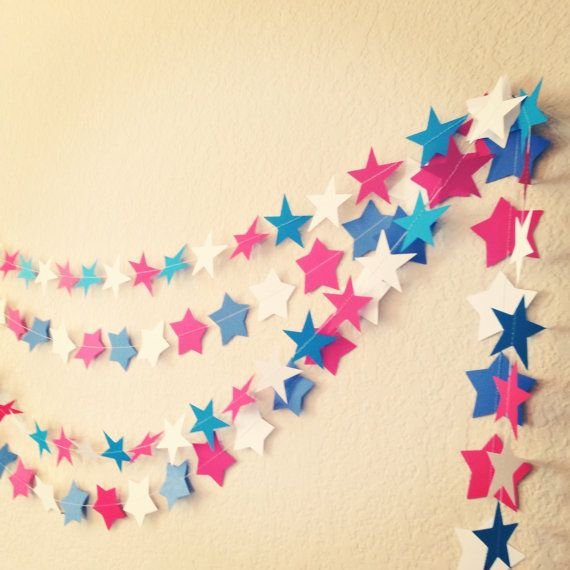 10ft Star Paper Garland perfect for 4th of July, birthday parties, holidays or just because. on Etsy, $9.00