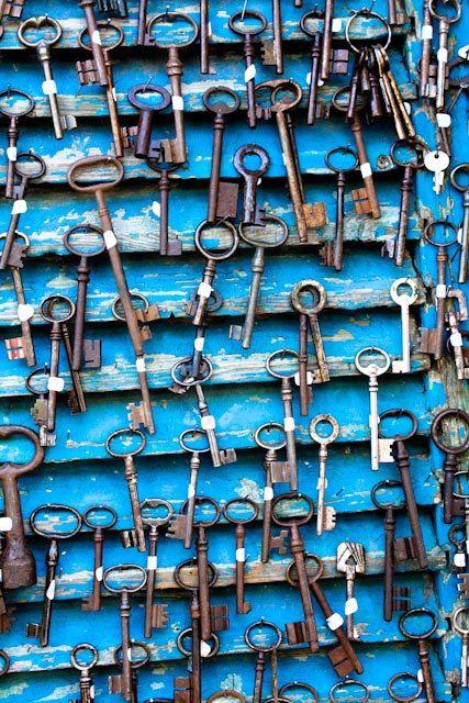 Paris Photography - Antique Keys at Flea Market in Paris, France - 8x10 Photograph- Paris home decor - cobalt blue