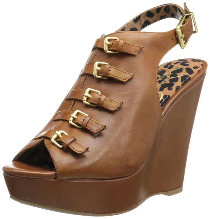 Jessica Simpson Footwear Women JS-Mossley Bootie,Burnt Ember Juba Calf,10 M US. Miniature buckle straps line the vamp of this slingback wedge from Jessica Simpson.