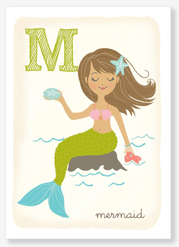 M is for Mermaid - alphabet print $10