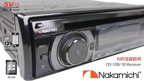 Single Din CD/ USB receiver with Mosfet 4x50W, 5 Volt RCA (front, rear speaker & subwoofer) output, MP3, SD, RDS, Front AUX in, VRD volume Encoder, AM/FM tuner, NA300iR is also equipped with 1A #Smartphone charging through #USB and #iPhone/ #iPod function. It comes in a durable Titanium chassis.  #NakamichiSA #InCarEntertainment #CarAudio