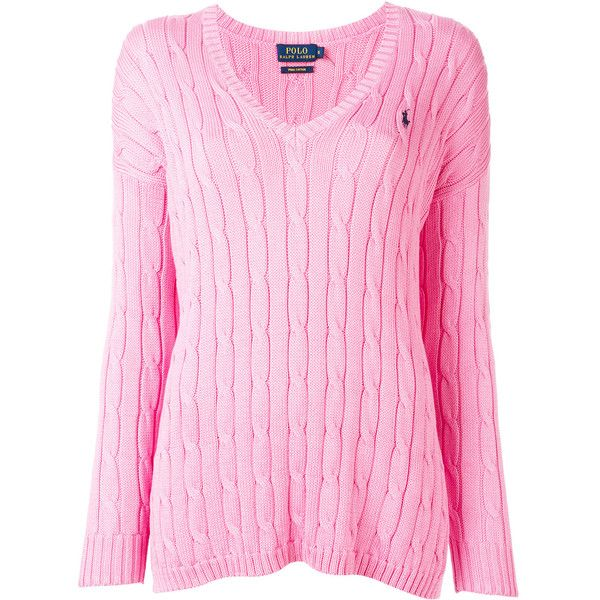 Polo Ralph Lauren v-neck jumper ($147) ❤ liked on Polyvore featuring tops, sweaters, pink, cotton jumper, jumper top, polo ralph lauren, v neck sweater and pink jumper
