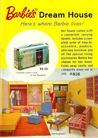 Ad for Barbie's Dream House - I was given this for Christmas.  Dad helped me put it together and I wore it out, playing with it!