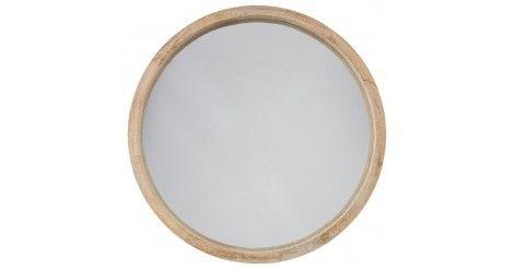 """Arborez vous aussi un intérieur tendance grâce à ce Miroir Rond Bois """"Scandinave"""" 52cm Marron !"""