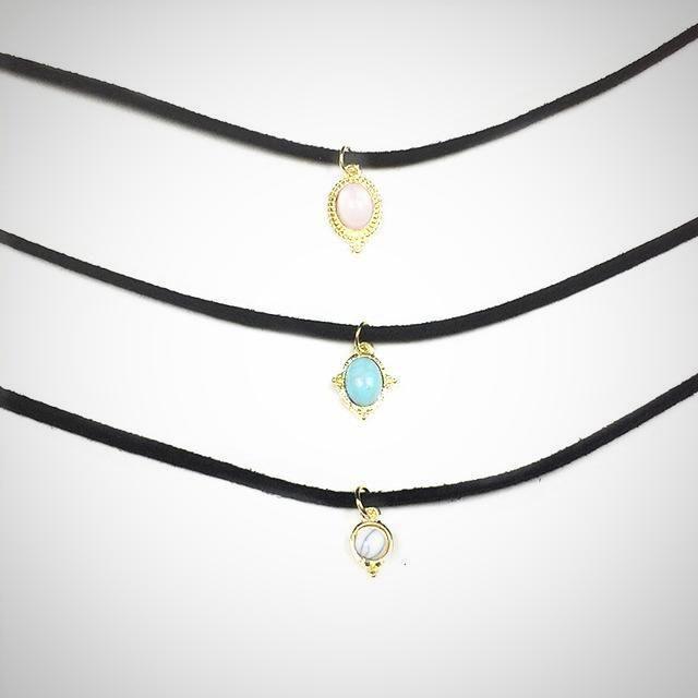 Fashion Boho Suede Choker Necklace Triple Layered