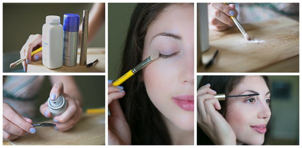 The Baby Powder Trick: Spray hairspray onto a clean mascara wand, and brush over your lashes. Dab a small cosmetic brush in baby powder, and lightly brush upon your lashes. Add your favorite mascara for thicker, longer-lasting glamorous eyelashes.