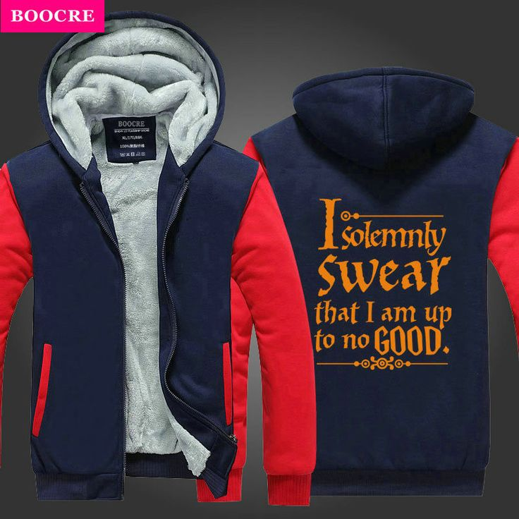 BOOCRE 2017 Fashion I Solemnly Swear That I Am Up To No Good Funny Mens Hoodies And Sweatshirts Winter Fleece Men's Sportswear