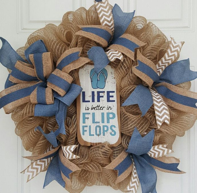 Denim Flip Flop Mesh Wreath