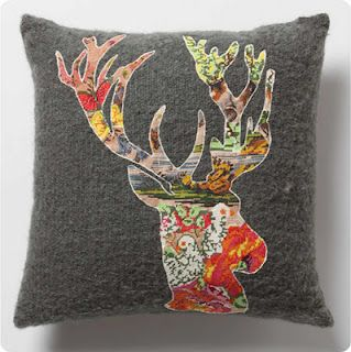 I like the idea of a patterned cutout on a solid pillow.... iron on backing for no sew pillows! Seeing as I have no sewing machine!