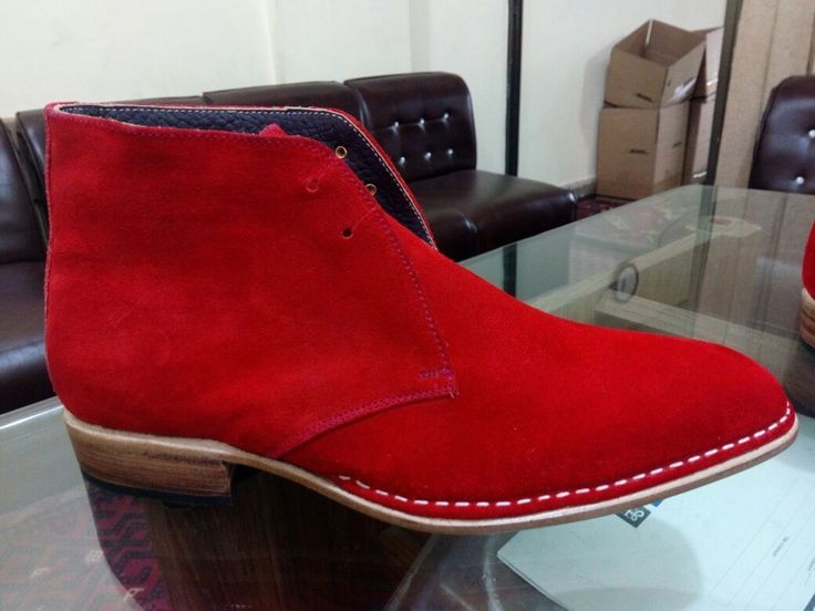Men,s Red color suede chukka boots, Men Red lace up suede leather boot Mens boot - Boots