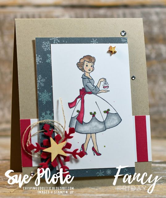 It's Christmas in the Making for November's #fancyfridaybloghop! This beautiful little lady came alive using the new Stampin' Blends markers and Christmas Around the World DSP. Don't you just love her vintage vibe?! #stampinup #thispinkrooster #sketchchallenge #handmadechristmascard #christmasgreetings #stampinblends #christmasinthemakingstampset