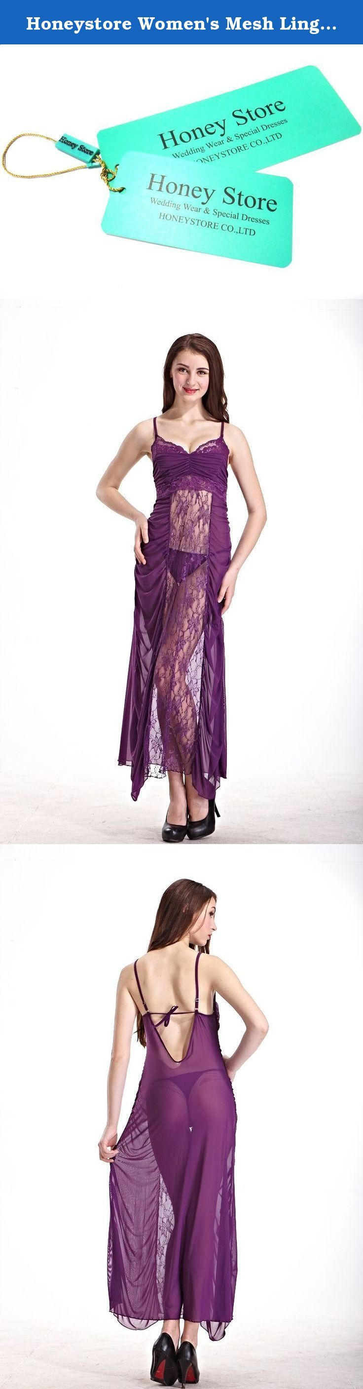Honeystore Women's Mesh Lingerie Transparent Lace Nightgown Long Dress Sleepwear Purple. For a well-planned night, this sheer long lingerie nightgown robe is very sexy to make your intimate lover cheer up for your alluring silhouette. This nightwear long gown lingerie dress is an enhancer of women's charm and confidence.