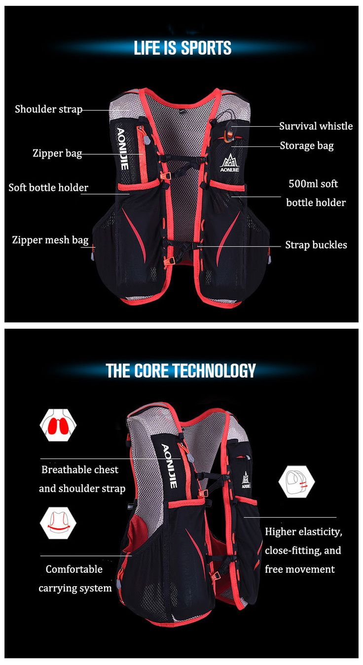 AONIJIE 5L Sports Running Vest Backpack Marathon Hydration Water Bag Pack Holder    #sports #outdoor #fitness