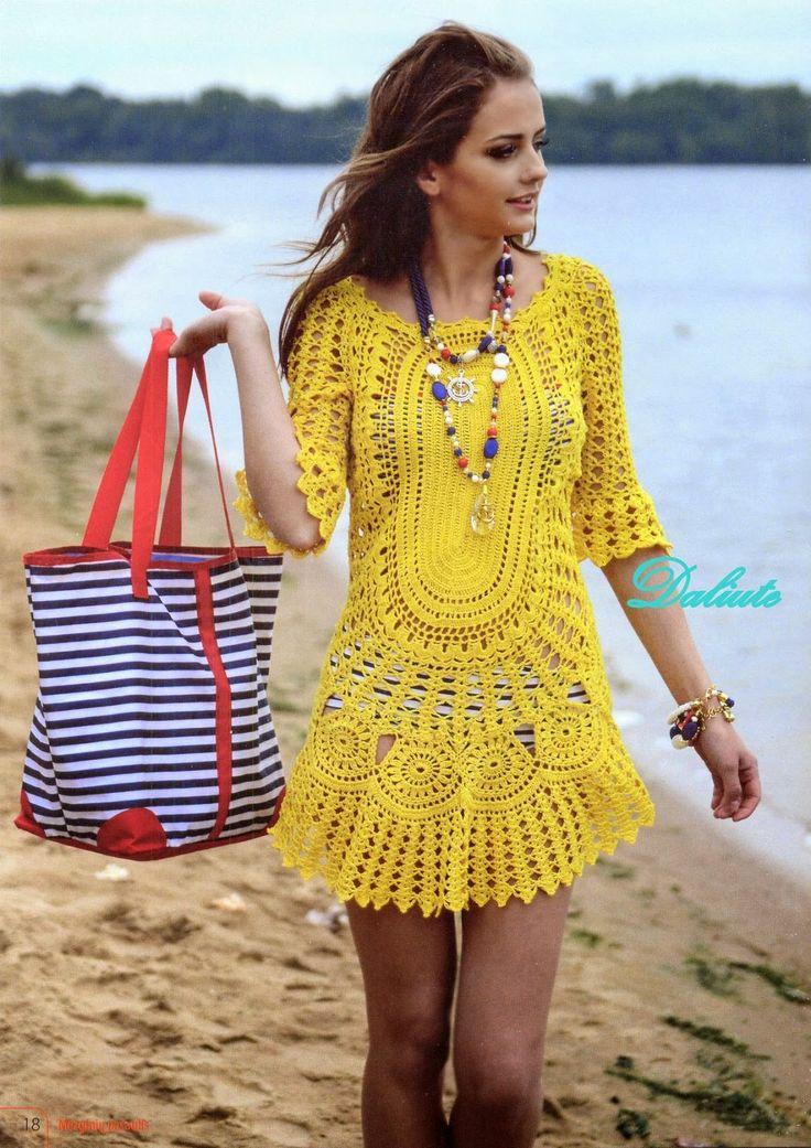 Crochetemoda: Vestido de Crochet Amarelo