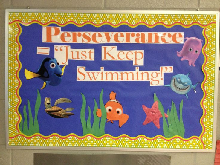 Children S Day Classroom Decoration Ideas ~ Perseverance bulletin board just keep swimming for