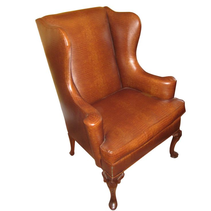 English Queen Anne Style Mahogany Wing Chair