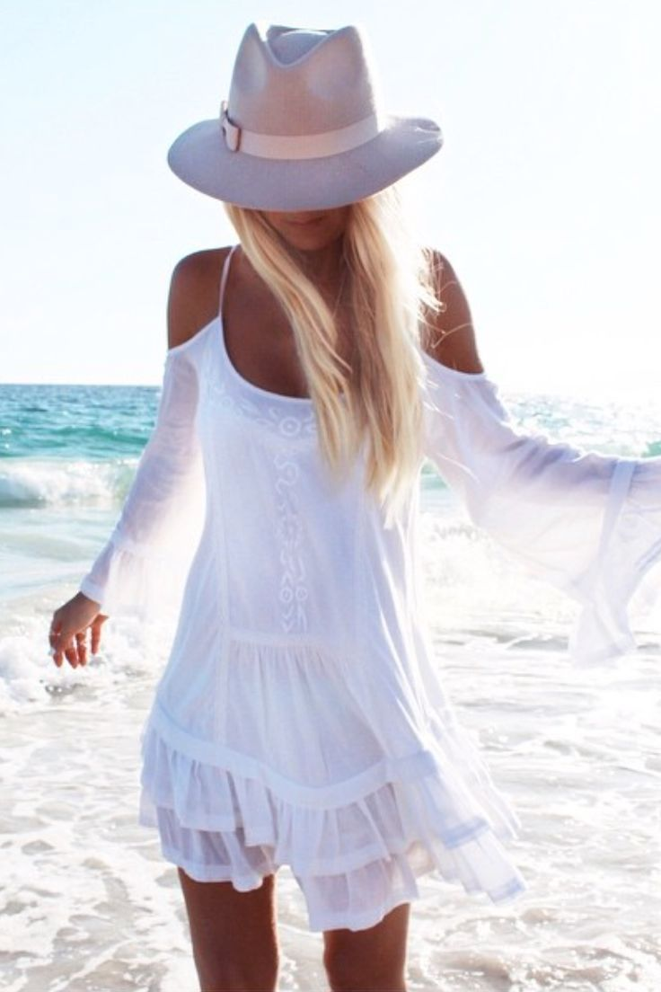 Summer dress with hat - beach outfit - Virgine Felt Hat by Maison Michel for $217. Buy the hat here: http://justbestylish.com/10-stunning-hats-to-wear-this-summer/5/