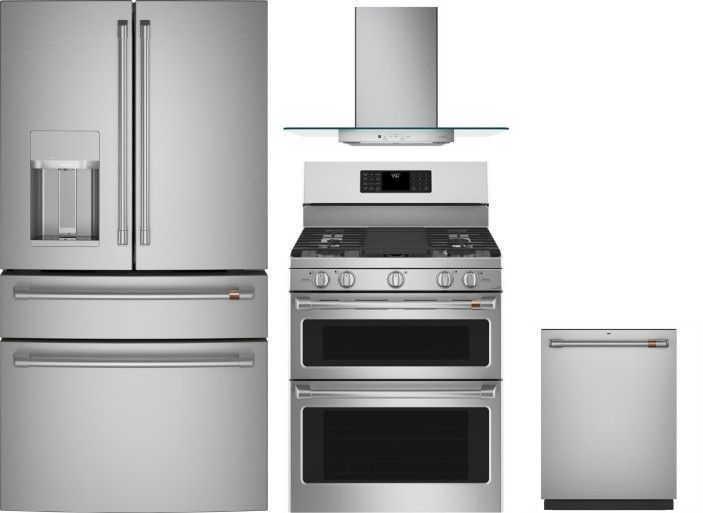 Cafe 4 Piece Kitchen Appliances Package With French Door Refrigerator Gas Range And Dishwasher In Stainless Steel Stainless Steel Cafreradwrh1097 Appliances