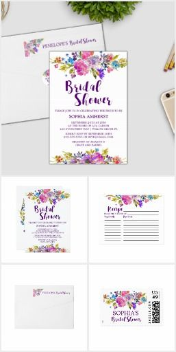 Purple Pink and Blue Flowers Bridal Shower Set Wedding Bridal shower invitation + paper set featuring bright magenta, pink, plum purple and blue flowers, and a lovely bold script font for a modern wedding shower. This floral bouquet collection includes all of the essentials: invites, stamps, labels, recipe cards, games, thank you cards, and more. If you would like a product made just for you to coordinate with this set, please contact me and I would be happy to create it for you!