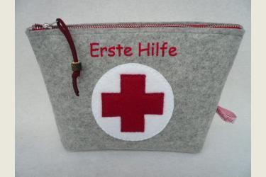 Taschen, 2mm Filz - Basteln, Nähen & Filzen - Nähset Erste Hilfe Tasche hellgrau