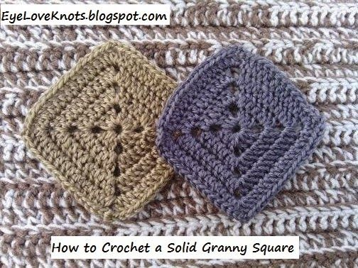 EyeLoveKnots: Crochet Solid Granny Square - Free Pattern - Yarn Bee Soft Secret Yarn Review; How to Crochet. How to Granny Square. How to Invisible Join in Crochet. How to Weave in Yarn Tails in Crochet. Crochet Technique. Beginning Crochet. Beginner Crochet. Novice Crocheter. One Skein Project. Mushroom Color. Tan Color. Smoke Color. Gray Color.
