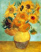 Vase With Twelve Sunflowers II  by Vincent Van Gogh