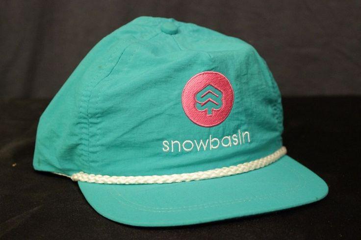 Vtg Snow Basin Ski Resort Trucker Hat Strap Back Cap USA Made Nylon Green White #ImperialHeadwear #Adjustable