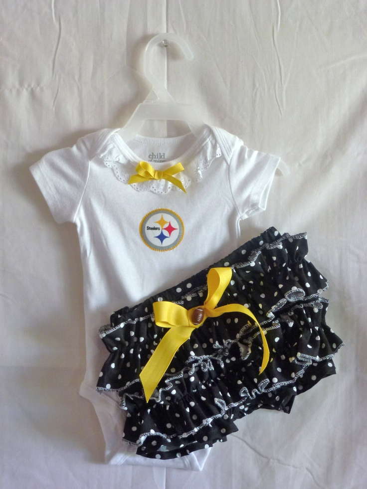 NFL Pittsburg Steelers Onsie Bloomer outfit Size NB to 3 Tailgating ANY Team. $32.00, via Etsy.