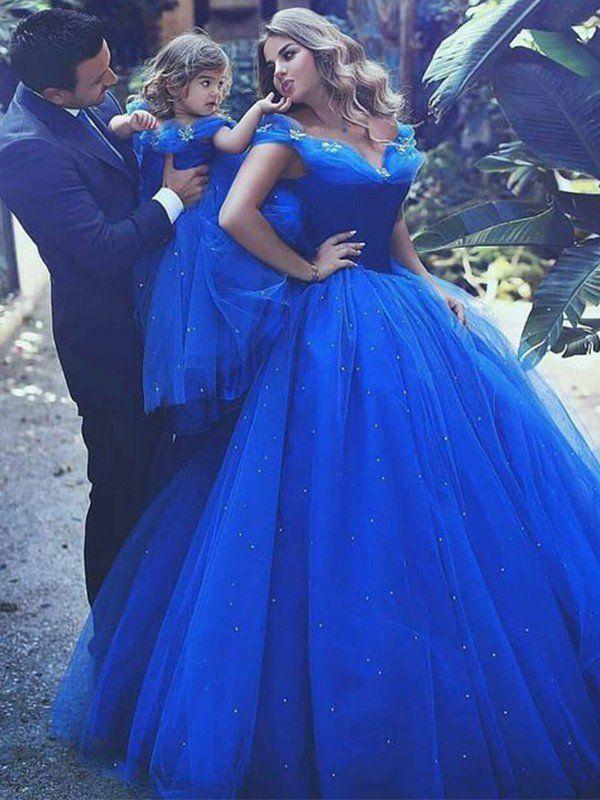e32e665884c Ball Gown Off-the-Shoulder Sleeveless Floor-Length Beading Tulle Dresses