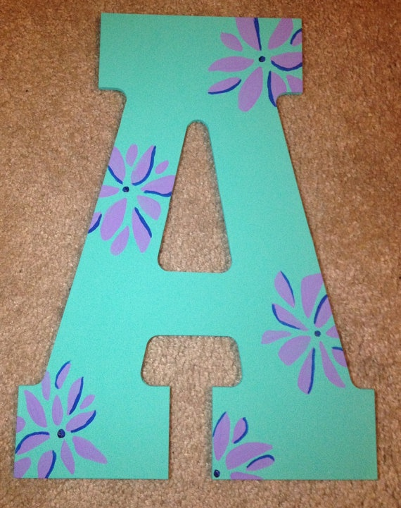 Hand Painted Wooden Letter A // Wall Decoration //