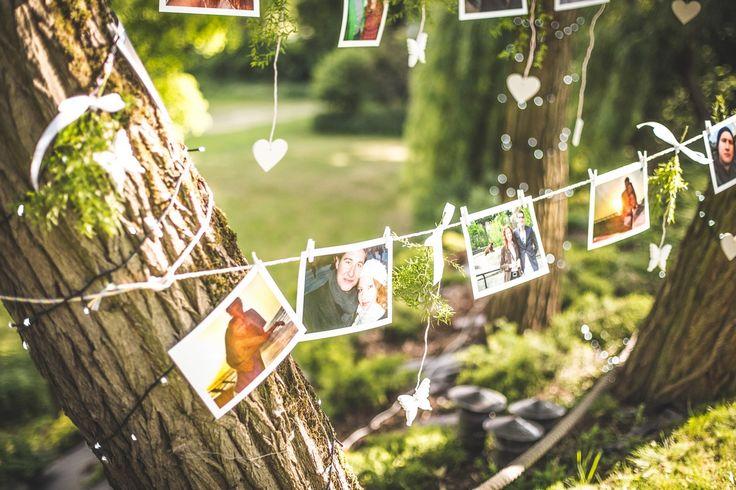 Dekoracje ze zdjęciami Pary Młodej #wedding #decoration #pictures #couple #photo #love #marriage #garden
