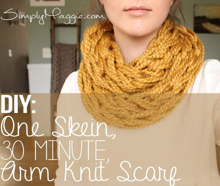 DIY, One Skein 30 Minute Arm Knit Scarf | simplymaggie.com