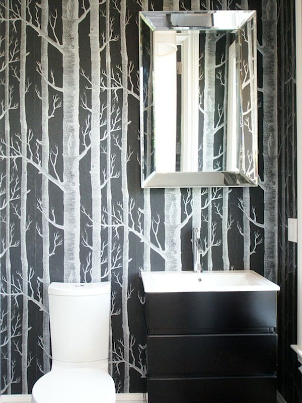 Monochrome Bathroom | Woods Wallpaper | Birch Trees | Nature Theme | Natural Bath | Bathroom Design