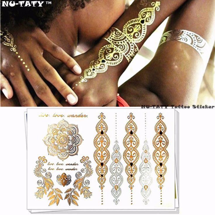 Nu-TATY Metallic totem Gold Temporary 3d Fake Tattoos Body Arts Retro Tatto Flash Sticker Swimsuit Bikini Makeup Tools ($0.65)