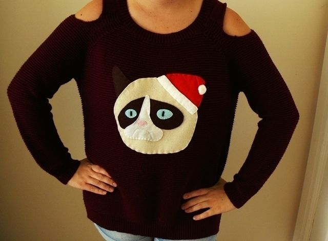 "DIY Grumpy Cat Christmas Sweater  Add ""Bah Humbug"" to make it even better"