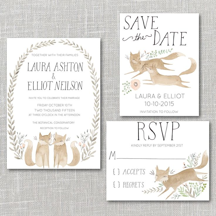 Foxes Printable Wedding Invitation Suite with custom hand lettered names By Julianna Swaney