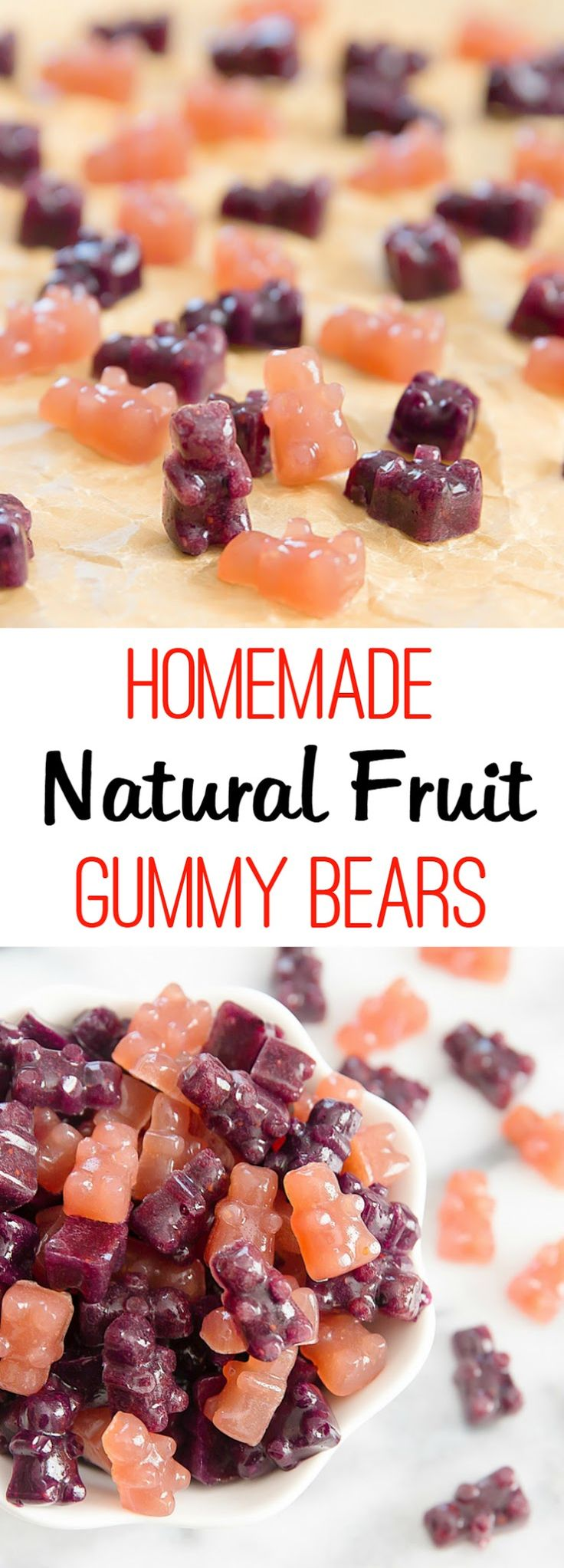 Homemade Gummy Bears or Fruit Snacks. Easy to make, naturally flavored and colored with fruit. Much healthier than store bought!
