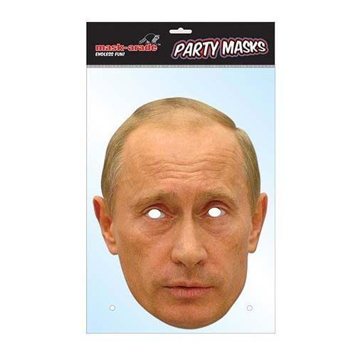 """Laadukas ja täysin aidon näköinen valokuvasta tehty pahvinen muotoon leikattu """"Vladimir Putin"""" naamio silmäaukoilla ja joustavalla kiinnitysnarulla. Koko noin 28cm x 20cm."""