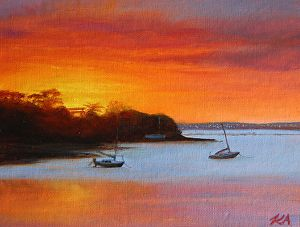 Sunset at Cox's Bay by Andras Kalmar Oil ~  x