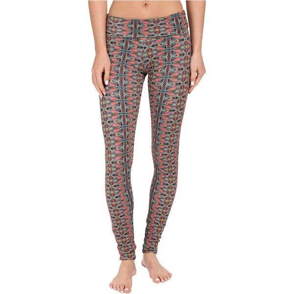 Onzie Balinese High Rise Leggings (Balinese) ($48) ❤ liked on Polyvore featuring pants, leggings, brown, white yoga leggings, high-waisted leggings, patterned leggings, high waisted leggings and brown leggings